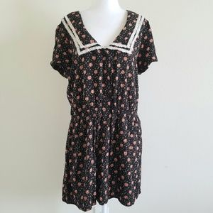 Free People Black Floral Lace Trim Top/Tunic